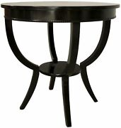 30 Round Set Of Two Side Table Night Stand Solid Birch Wood Modern Black Finish