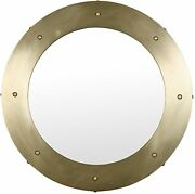 36 Round Wall Mirror Solid Metal Frame Antique Brass Finish 3ft Dia Jacobean