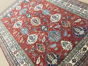 7and039.2 X 9and039.8 Red Beige Geometric Oriental Area Rug Hand Knotted Wool