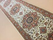 2and039.6x19and039.7 Beige Rust Very Fine Geometric Oriental Rug Long Runner Handknotted