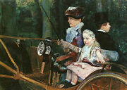 Art Oil Painting Cassatt, Mary - Woman And Child Driving Carriage Hand Painted