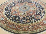 6and039.0 X 6and039.0 Navy Blue Rust Sarape Oriental Rug Round Hand Knotted Wool