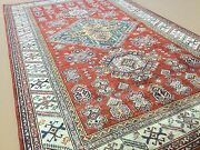 5and039.11 X 9and039.3 Red Beige Geometric Medallion Kazak Oriental Rug Hand Knotted