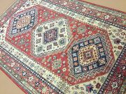5and039.9 X 8and039.8 Red Beige Blue Fine Geometric Oriental Rug Hand Knotted Wool