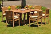 Dsgv Grade-a Teak 7 Pc Dining 69 Console Rectangle Table Arm Chair Set Outdoor