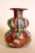 Murano Milliefiori Bottle - Miniature Richly Colored With Gold Fleck - Antique