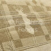 Soft Like Cotton Small Stag Pattern Upholstery Woven Fabric Golden Beige Colour