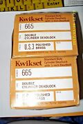 2 Kwikset No 665 Double Cylinder 1 Deadlock Polished Brass. Made In Usa.