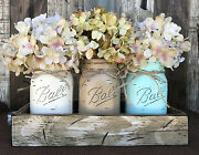 Wood Tray 3 Ball Canning Jars +flowers Table Centerpiece Handmade -antique White