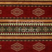 Quality Kilim Aztec Pattern With Stripes In Red Gold Green Upholstery Fabric