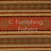Quality Kilim Aztec Pattern With Stripes In Orange Red Gold Upholstery Fabric