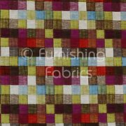 New Heavyweight Multi Coloured Patchwork Pattern Chenille Upholstery Fabric