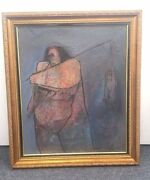 Vintage Luis Qviedo Weber 1996 Mixed Media Canvas 20and039 W X 24 H Vendor Of Fish
