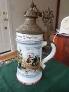 Antique German Military Lidded Gerz Beer Stein Late 1800and039s