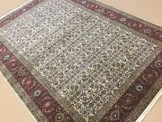 6'.0 X 9'.0 Beige Red Fine Geometric Oriental Area Rug Hand Knotted Wool Foyer