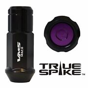 32 True Spike 57mm 14x1.5 Forged Steel Lug Nuts Purple Capped Closed End