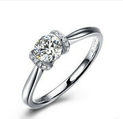 Pure White Gold 14k Ring 0.5ct Diamond Ring Great Jewelry Gift For Mother