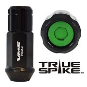 32 True Spike 14x2.0 Steel Lug Nuts Green Capped Closed End Ford Excursion