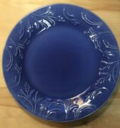 Libbey Blue Flower Floral Embossed 10 1/2 Dinner Plate Preownedkitchen.com