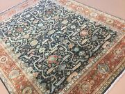 7and039.9 X 9and039.11 Navy Blue Rust Geometric Oriental Area Rug Hand Knotted Wool