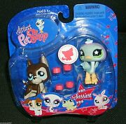 Littlest Pet Shop Pet Pairs Great Dane Dog Puppy And Ostrich 817 And 818 Nib Rare