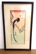 Antique Woodblock Ando Hiroshige 1797-1858 Signed Swallow Flowers Bird 7 X 15