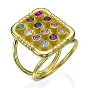14k Yellow Gold Ring Hoshen Jewish Symbol Square Top With Precious Stones 17mm