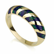 14k Yellow Gold Azurite Ring Classy Domed Stripe Handmade Polished 5.5mm - New