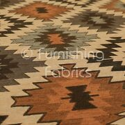 Traditional Kilim Aztec Inspired Pattern Orange Brown Colour Upholstery Fabric