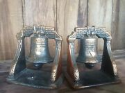Vintage Victory Liberty Bells Book Ends , Bronze Finish Over Cast Iron