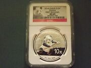 2014 China Panda 10y Ngc Ms69 Early Release One Troy Oz. Silver