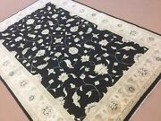 6and039.0 X 8and039.11 Black Beige All-over Ziegler Oriental Area Rug Hand Knotted Wool