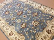 6and039.3 X 9and039.6 Light Blue Beige Ziegler Oriental Rug Hand Knotted Wool