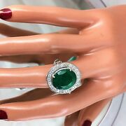 6.03ct Natural Emerald And Diamond 14k Solid White Gold Ring Zambia Emerald