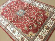5and039.7 X 7and039.11 Rose Beige Oushak Oriental Area Rug Hand Knotted Wool