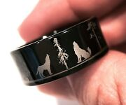Wolf Ring Wolfs In Forest Landscape Tungsten Wedding Bands Menand039s Women Rings