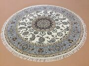 6and039.1 X 6and039.1 Ivory Light Blue Fine Quality Oriental Rug Hand Knotted Woolandsilk