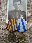 Russian Soviet Cccp Ussr Order Badge Pin Set Of 2 Medals Photo