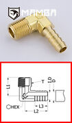 Brass Adapter Fitting Male Hose-barb Elbow 90 Deg 1 Bsp To 1-1/4 Tube 50 Pcs