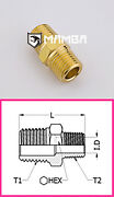 Brass Adapter Fitting Male Nipple 1/2 Bsp Male To 1/4 Bsp Male 50 Pcs