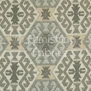 Aztec Traditional Medallion Kilim Pattern Grey Beige Colour Upholstery Fabric
