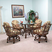 Made In Usa Quality Rattan Swivel Caster Chair And Table 5 Piece Dining Set