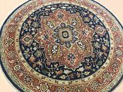 6and039 X 6and039 Navy Blue Rust Fine Quality Geometric Oriental Rug Round Hand Knotted