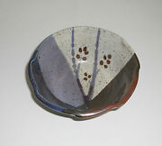 "Handmade Pottery Bowl Stoneware Art Blue/Brown/Gray 6 3/8""x2 3/4"" Signed"