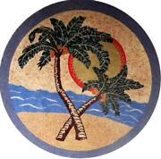 Medallion Mosaic Art - Palms On The Beach Tile Patterns Flowers And Trees Mosaic
