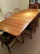Amish Made Solid Cherry Dining Table 6 Chairs Custom Table Pad Leaf/pad Cab.