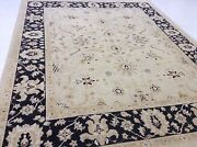 8and039 X 10and039 Beige Black Fine Oushak All-over Oriental Area Rug Hand Knotted Wool