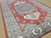 6'.3 X 8'.10 Red Green Fine Geometric Oriental Area Rug Hand Knotted Wool