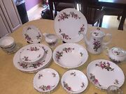 Vintage Dinnerware Set And Musical Coffee Pot, Royal Rose By Fine China Of Japan