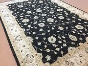 5and039.11 X 8and039.9 Black Beige Fine Ziegler Oriental Area Rug Hand Knotted Wool